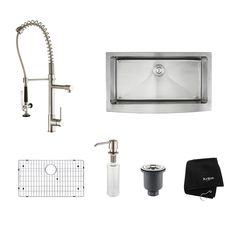 Kraus Kitchen Combo 20.75-in x 35.9-in Stainless Steel Single-Basin Apron Front/Farmhouse Residential Kitchen Sink All-In-One Kit