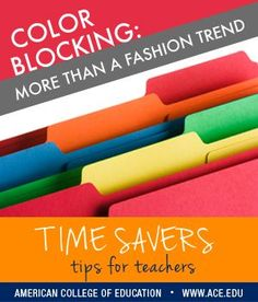 Color coordination is chic -- but when applied to your classroom, it also saves time and helps things magically return to their rightful place! Try it with your students and see how easy it is to get them to comply. Try it with your own files and supplies to pep up your cleanup.