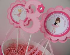 3 Ballerina Birthday Party Centerpiece by sweetheartpartyshop, $10.00