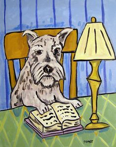schnauzer reading a book painting dog art print 8 x10