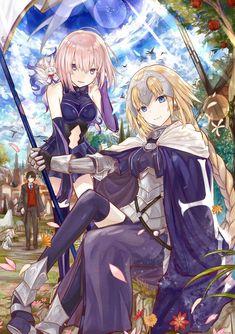A pleasant drawing of Mash and Jeanne #fgo Fate Stay Night, All Anime, Manga Anime, Anime Art, Anime Girls, Fate Zero, Saga, Joan Of Arc Fate, One Punch Anime
