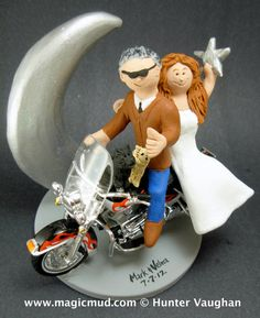 Crescent Moon Wedding Cake Topper      Wedding Cake Topper for Harley Motorcycle Riders, custom created for you! Perfect for the marriage of a Harley Davidson Riding Groom and his Bride!    $235   #magicmud   1 800 231 9814   www.magicmud.com