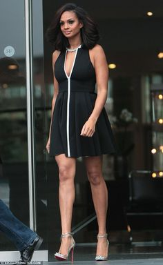 Amanda Holden tries her luck in optical illusion dress while Aleesha Dixon goes retro in cut out monochrome skater dress Ciara Style, Optical Illusion Dress, Grunge, Alesha Dixon, Freakum Dress, Amanda Holden, Black Women Fashion, Classy Dress, Dress Me Up