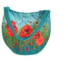 Felted bag felt bag floral felt handbag wool bag petrol green orange... ($95) ❤ liked on Polyvore featuring bags and handbags