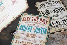 Vintage Vaudeville themed Save the Date Post by mybigdaydesigns