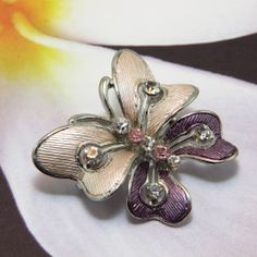 Two-tone Violet Rhinestone Butterfly Brooch Pin