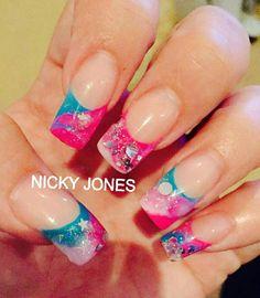 Pink blue glitter