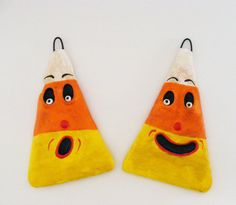 Vintage Style Halloween Candy Corn Folk Art by seasonsart1031