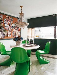 panton chair grün designer stühle esszimmer möbel runder tisch