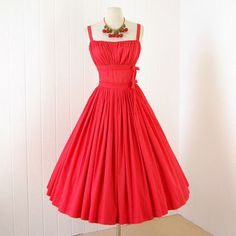 vintage 1950's dress ...gorgeous designer GRETA PLATTRY ORIGINAL red coral cotton full skirt pin-up cocktail party dress