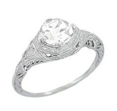 Art Deco White Sapphire Engraved Filigree Engagement Ring in 14 Karat White Gold