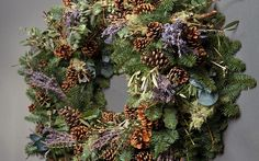 Classic Lavender Wreath, beautifully scented wreath features heavenly lavender, lichen, eucalyptus and pine cones.  Wild at Heart by Nikki T...