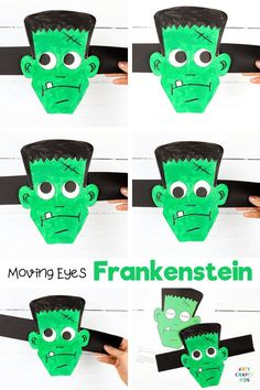 Moving Eyes Halloween Frankenstein Craft for Kids to make - A fun   interactive Halloween craft for kids. Children can practice fine motor skills with cutting   sticking, and use their imaginations to explore color   texture with paints. And as the finished craft is so tactile and interactive, kids will have a great time playing with their creation afterwards, too. Get the printable Frankenstein craft template here! Preschool Frankenstein Crafts for Kids | Halloween Crafts for Kids… Creative Activities For Kids, Creative Arts And Crafts, Easy Paper Crafts, Creative Kids, Ghost Crafts, Fox Crafts, Spider Crafts, Halloween Crafts For Kids To Make, Halloween Art Projects