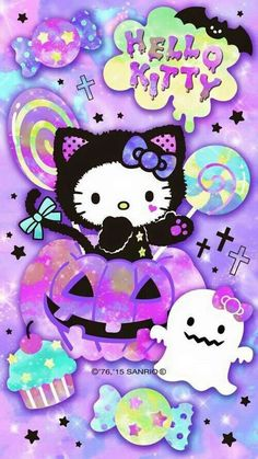 Halloween Hello Kitty  Wallpaper...By Artist Unknown...