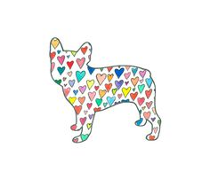 Just added to the shop! French Bulldog Silhouette Art Print // Hearts by henrihopper, $16.00