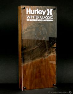 Here are the Hurley Winter Classic Trophies for the competition held in South Australia. Combining laser cut acrylic with laser engraved timber helped us create a great looking batch of trophies that the winners looked stoked to receive!