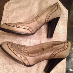 Mossimo Brand Four Inch Heels - Size 11 These are a cute beige/brown pair of four-inch heels. Mossimo brand shoes, size 11. Mossimo Supply Co. Shoes Heels