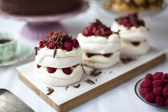 What could be sweeter than a surprise treat for your gluten-free sweetheart? These raspberry & dark chocolate mousse mini pavlova stacks spell TLC for the tummy. | Happy Valentine's Day