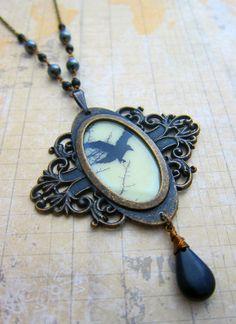 Glow Crows Glow in the Dark Black Bird Medallion by SihayaDesigns