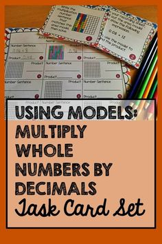 Help your students achieve a conceptual understanding of decimal multiplication by practicing with models. This is a fun set of 24 task cards! Also available in a money-saving bundle.