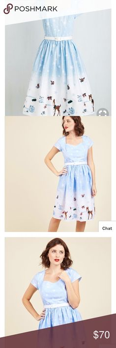Hell Bunny Work Wonderlands Cotton Dress New in plastic ! Beautiful festive winter dress! Modcloth Dresses Midi