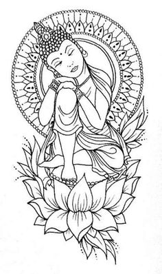 Ideas Drawing Ideen Blumen For 2019 - Bleistift Malen - Buddha Drawing, Doodle Art Drawing, Buddha Painting, Pencil Art Drawings, Art Drawings Sketches, Tattoo Drawings, Body Art Tattoos, Tatoos, Buddha Tattoo Design