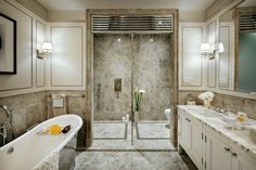 "Toll Brothers Master Bath at The Touraine, Upper East Side. Say ""Spaaa"". Home, Dream Bathrooms, First Home Essentials, Bathroom Inspiration, New Homes For Sale, New Homes, Beautiful Houses Interior, City Living, Luxury Homes"