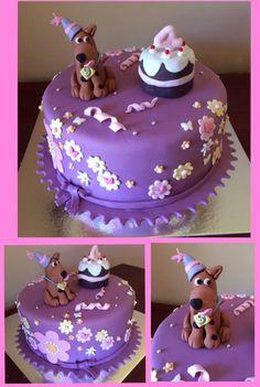 Scooby Doo Scrappy Purple flowers girls birthday cake