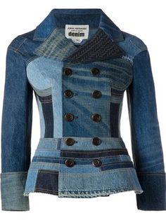 Blue cotton patchwork denim jacket from Junya Watanabe Comme Des Garçons. Mode Jeans, Jeans Bleu, Jeans Denim, Denim Jacket Men, Moda Indiana, Jean Délavé, Denim Ideas, Blue Jean Jacket, Denim Patchwork