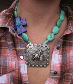 Sale Rodeo Cowgirl Turquoise and Purple Rose Cross Barrel Racer Concho Necklace