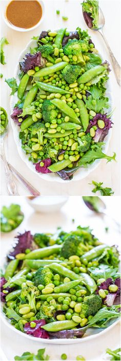 Green Powerhouse Salad with Sesame-Ginger Vinaigrette (vegan, GF) Protein: edamame
