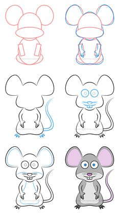 How to draw an illustration of a mouse - How to draw a mouse and play with strokes and outlines! Cute Easy Drawings, Art Drawings For Kids, Colorful Drawings, Drawing For Kids, Cartoon Drawings, Animal Drawings, Art For Kids, Drawing Lessons, Art Lessons
