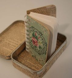 I love the idea of a wee bound book in a tin!   Vintage roses - curious mini journal (1)