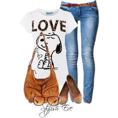 Stylish Eve Outfits 2013: Casual Wear with Jeans- Cool Snoopy T :-)