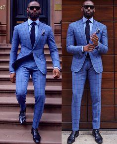 Davidson Frere blue striped suit