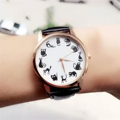 Fashion Casual Watches Women Lovely Cat Leather Sport Quartz Wrist Watches Luxury Brand