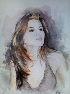 Woman ink watercolor portrait Retrato mujer acuarela  (3/2016) Alexandra Sánchez Moreno