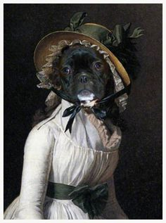 French bulldog portrait empire by Daniel Trammer, original painting. Anthropomorphic dog.