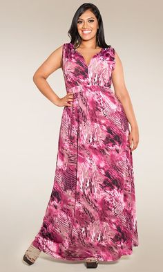 Soft and feminine! Our best-selling sleeveless plus size maxi dress in a new hot print ! Hot pink, black and blush-pink accentuate this lady-like maxi with a bit of sexy edge to it. The perfect fabric to pack and go, this dress is virtually wrinkle-free.