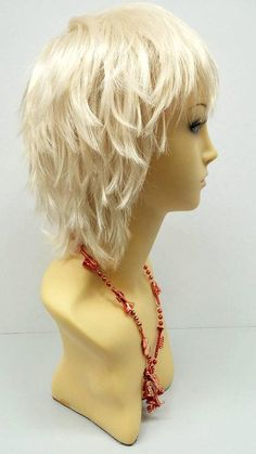 Blonde Cosplay Wig, Cosplay Wigs, Anime Cosplay, Mullet Wig, Mullet Haircut, Short Hair With Layers, Layered Hair, Layered Cuts, Rose Gold Short Hair