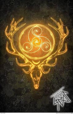 Stag Lord Herne Cernunnos Celtic Bone Bann Disc Gold by SigiDawn