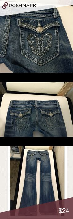 Rock 47 by wrangler jeans size 1 X 34 long Flap rhinestone detailed pockets In new condition washed look intended 🔌ultra low rise🔌1% spandex for a slight stretch fit rock 47 by wrangler Jeans