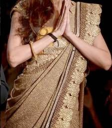 Buy Malaika Arora Beige Red Saree other-actress-saree online