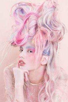Hair: Laura Kulik and Ria Kulik at The Hairbank. Make-up: Harriet Rogers and Ellie Bevington. Hair Color Purple, Pink Hair, Blue Hair, Soft Grunge Hair, Competition Hair, Wacky Hair, Avant Garde Hair, Foto Fashion, Fantasy Hair