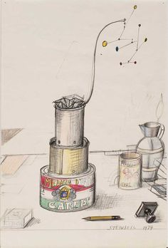 A Poetic Ashtray, 1974. Pencil and colored pencil on paper, 18 x 11 7/8 in. Calder Foundation, New York. The drawing shows an ashtray that Calder made for Steinberg in 1951-52. Steinberg sent the drawing to Calder and his wife, Louisa, in October 1974.