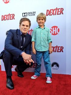 Michael C Hall on the red carpet with on screen son Harrison for the premiere of the final season of Dexter!