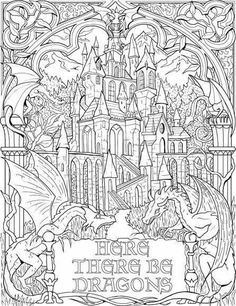 Inês Fonseca Make your world more colorful with free printable coloring pages from italks. Our free coloring pages for adults and kids. Puppy Coloring Pages, Coloring Pages For Grown Ups, Printable Adult Coloring Pages, Coloring Book Pages, Coloring Sheets, Colorful Drawings, Colorful Pictures, Castle Coloring Page, Black And White Sketches