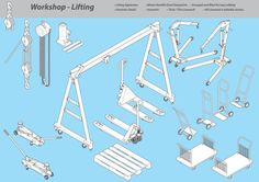 Workshop - Lifting Graphics Common lifting equipment found in engineering based workshops. All drawn in isometric and great deta by Industrial Artworks Benefits Of Recycling, Technical Illustration, Illustration Styles, Illustrations, Industrial Artwork, Vector Brush, Illustrator Cs5, Information Design, Thick And Thin