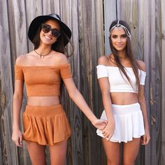 Matchy matchy twinnies in our East End Shorts and Crop Sets from http://Peppermayo.com