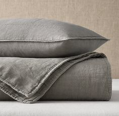 RH's European Linen Box-Stitch Quilt & Sham:Supple stonewashed linen is box quilted for lightweight warmth and finished with a row of hand stitching around the edges – an ideal layering piece for any season. Cotton Bedding, Quilt Bedding, Linen Bedding, Bed Linens, Oak Street, Bedding Collections, Bed Pillows, Cushions, Quilts
